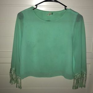 cute light green shirt with lace sleeves